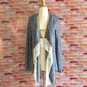 Pink Rose blue marled cardigan with lace trim