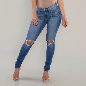 Denim - Carter Busted Knee Skinny Jeans-Blue