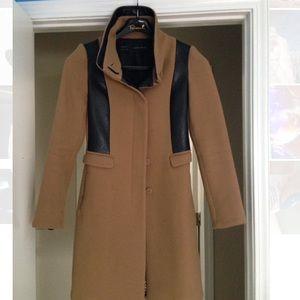 Zara Basic wool coat w/leather panels.