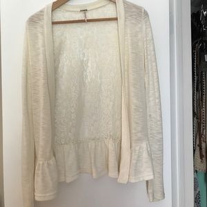 Beige cardigan with lace and peplum back