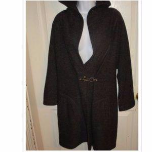 Fenn Wright Manson Gray Wool Hooded Sweater Coat L
