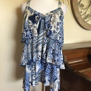 Avenue Size 14/16 Tiered Tank Top in Blue