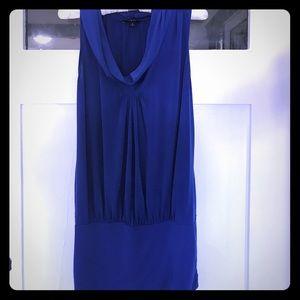 Navy blue cowl neck tank top