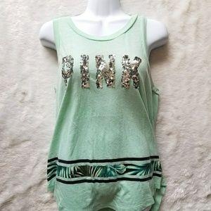 Mint PINK Sequin Tank Top!!