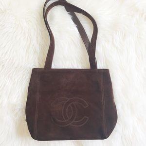 Vintage Chanel Brown Suede Purse