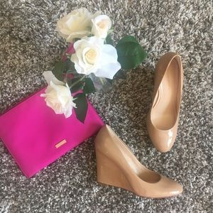 Nude patent leather wedge by Banana Republic 8.5