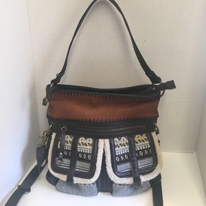 Sak suede and leather double pocket Crossbody