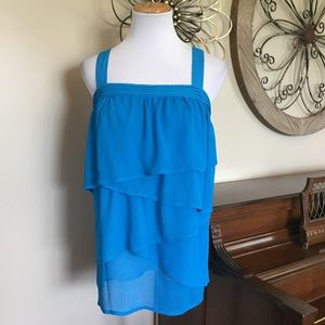 Lane Bryant Size 16 Tiered Tank Top in Bright Blue