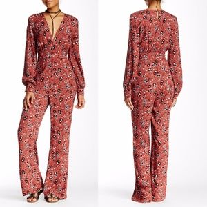 Free People Some Like It Hot Jumpsuit Rust Combo