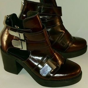 Topshop Brown Chunky Cutout Buckle Ankle Boots