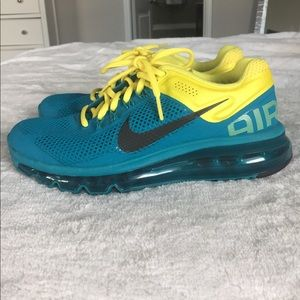 Size 7 Nike Air Max Blue and Yellow Women's