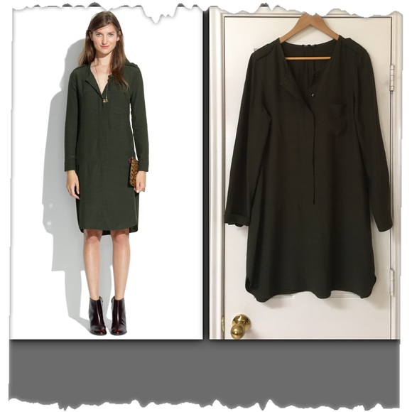 Madewell Dresses - Madewell Olive Green Cargo Tunic Dress