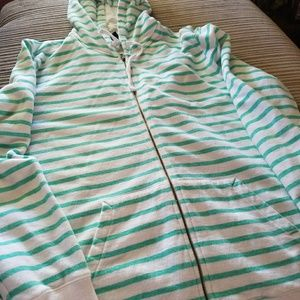 Stripped hoodie,  no tears or rips.  Very sofcomfy