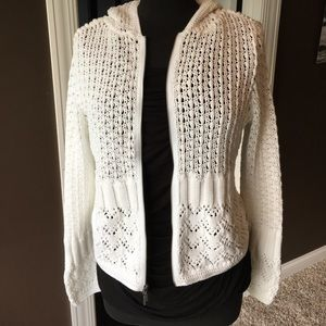 Cabi loose-knit white cardigan