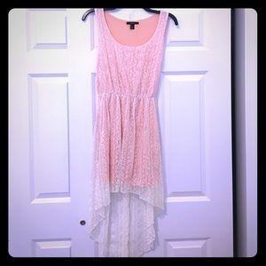 Peach/white high-low summer dress