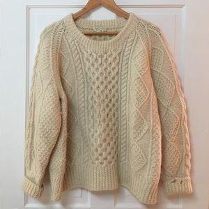 Cozy Fisherman's Sweater in Cream 100% Irish Wool