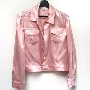 Baby Pink 90s Silk Jacket Top