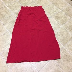 Eileen Fisher red rayon nylon long skirt Large