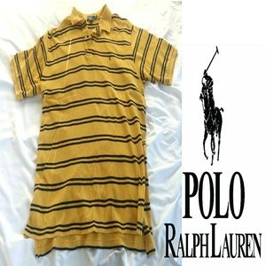 Mens yellow with blue stripes short sleeve  Polo