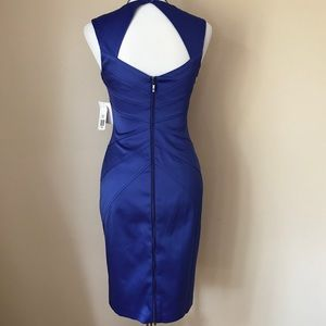 NWT Jessica Simpson Cobalt Blue Satin Midi Dress