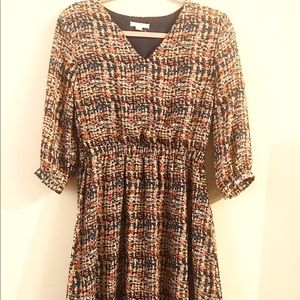 Above knee dress. Multi color. Cinched waist.