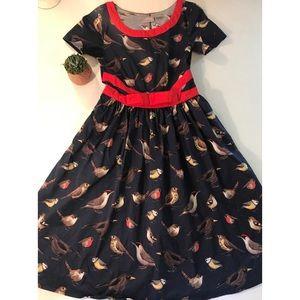 Eshakti Custom Bird Dress WIth Red Bow Sash- Sz 2