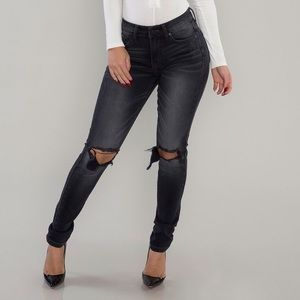 Denim - Carter Busted Knee Skinny Jeans-black