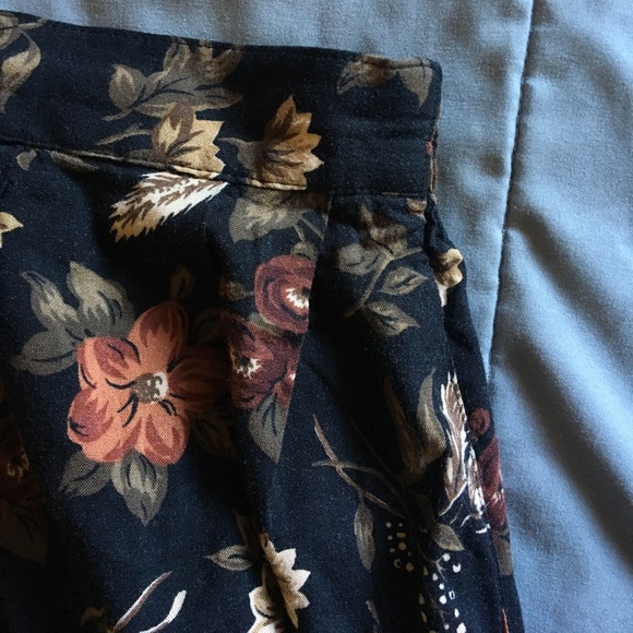 Sag Harbor Skirts - High waisted floral black skirt.