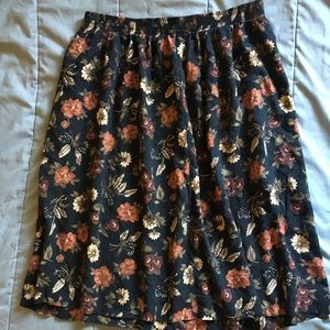 High waisted floral black skirt.