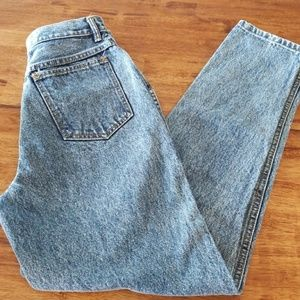 Vintage acid wash high waist mom jeans tapered leg