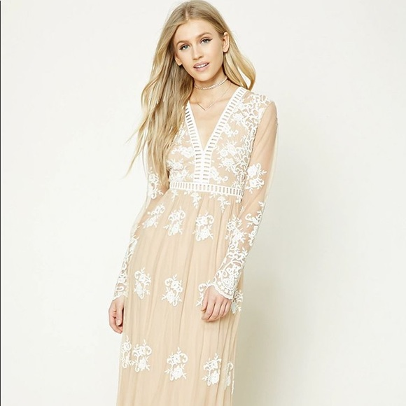 aac48d67d6c Forever 21 Dresses   Skirts - Flower embroidered nude maxi dress