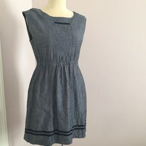 Modcloth Tulle Charcoal Gray Linen Blend Sheath L