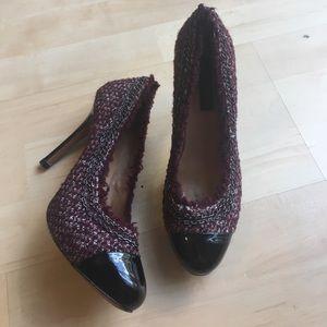 Ann taylor tweed chain heels