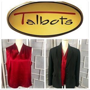Talbots Petites 💯 Silk Red Top