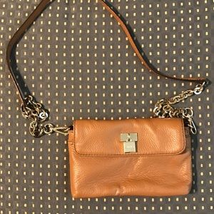 Calvin Klein brown leather purse with gold chain