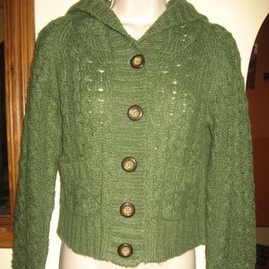 FREE PEOPLE olive  cropped hooded cable sweater/M