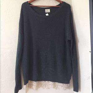 Over Sized Knit Sweater With Lace Hem