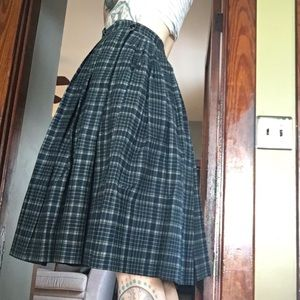 Vintage blue madras plaid high waist circle skirt