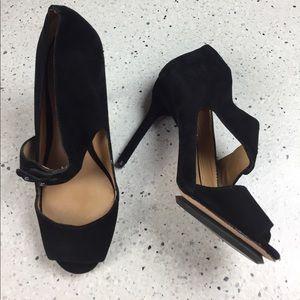 L.A.M.B. Black Suede Strappy Peep-toe Heels, Sz 8