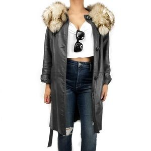 Vintage leather fur trench