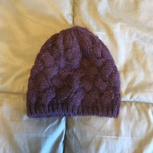 Purple cable knit beanie