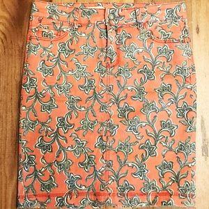 Patterned jean skirt. Anthropologie. Like New.