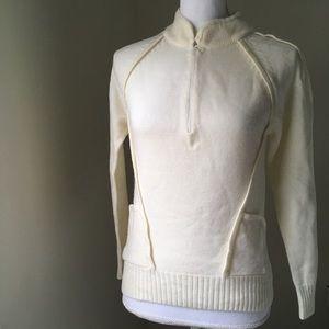 Vintage Cream half-zip sweater pullover sweater Sm