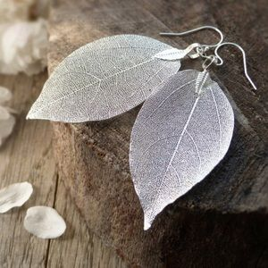 RESTOCKED Silver Dipped Leaf Skeleton Earrings