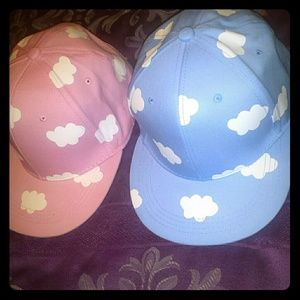 Pink and blue cloud hats