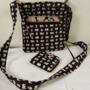 Vera Bradley Pink Elephant Cross Body Bag & Wallet