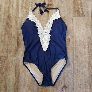 Lace trim one piece swim suit