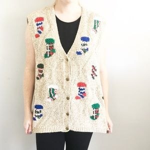 Vintage Ugly Christmas Stockings Tan Sweater Vest