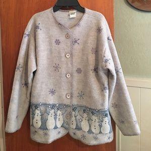 VTG Christmas fleece sweater sz M