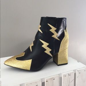 Leather/glitter chunky heel statement booties